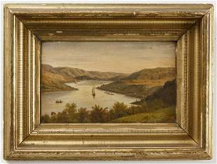 H. Lewis - Hudson River Oil on Panel