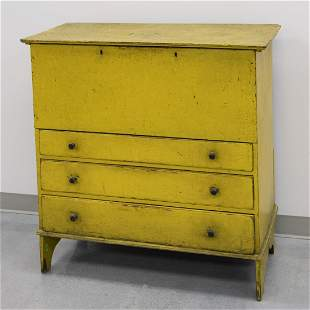 Three Drawer Blanket Chest in Yellow Paint