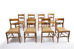Set of 8 Period Tiger Maple Dining Chairs