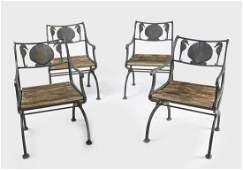 Four Iron Garden Chairs - Sea Horse Design