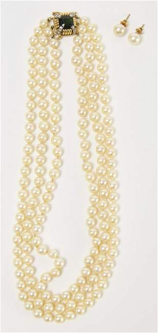 Akoya Cultured Pearl Necklace and Earrings