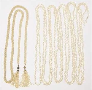 Lariat Seed Pearl Tassel and Biwa Pearl Necklaces