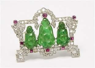 Cartier Art Deco Diamond, Rubies and Jade Brooch