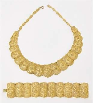 Middle Eastern Style 14K Necklace and Bracelet set