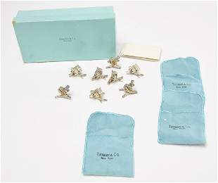 8 Tiffany Sterling Squirrel Place Card Holders