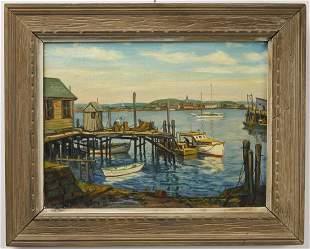 Oil on Canvas Fishermen In Maine Harbor