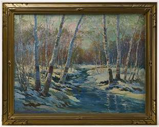 Large New England Winter Scene - L Churback