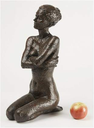Desmond H Fountain Bronze Seated Female Figure