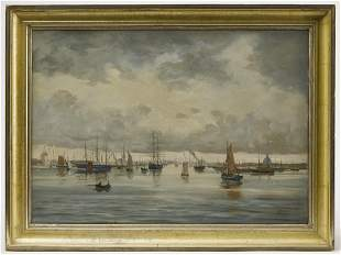 Oil Painting - Boats in a Harbor