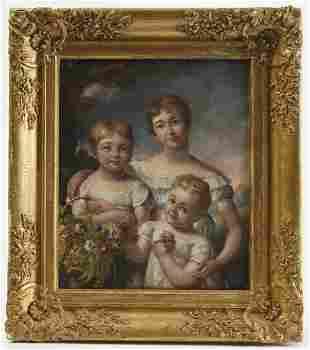 Mother & 2 Children Oil on Canvas