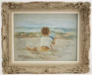 Fine Pastel Child on Beach