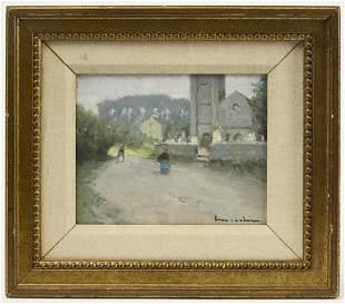 H.M. Cahours Landscape Oil on Board