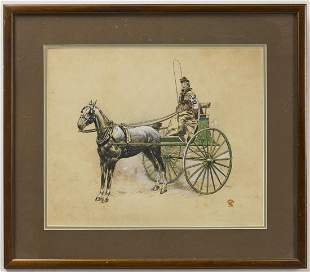 Ink & Gouache on Paper - Horse Drawn Carriage