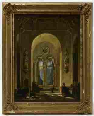 Pair of Unusual Church Interior Paintings