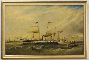 Barnaby Castle Ship Painting by J. Scott