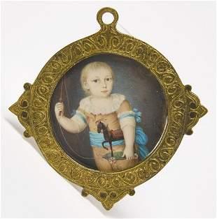 Miniature Portrait Child with Toy