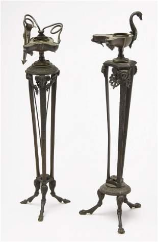 Pair Bronze Oil Lamps