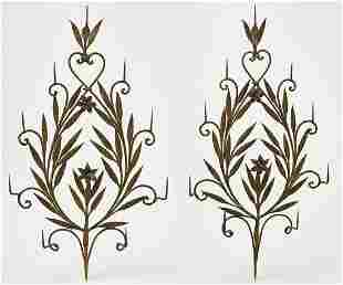 Pair Large Iron Gold Floral Wall Sconces