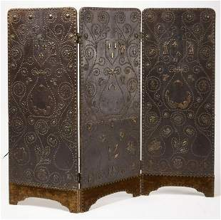 Leather and Brass Bound Folding Screen