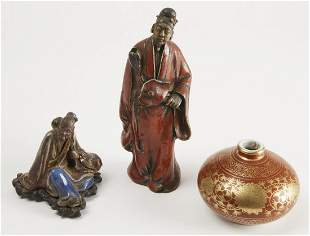 Two Pottery Asian Figures & Vase