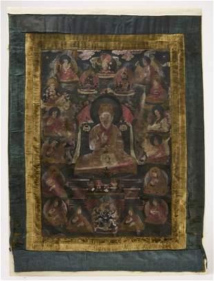 Early Tibetan Thanka Painting on Silk