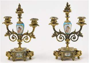 Pair French Gilded & Painted Porcelain Candelabras