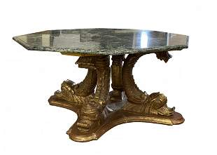Italian Dolphin Table with Octagon Marble Top