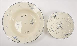 Antique Tin Glazed Bowl and Strainer