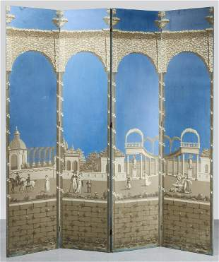 Four Panel Screen with Early Wallpaper