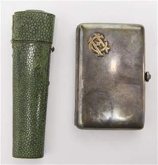 Sterling Cigarette Case and Shagreen Drafting Set