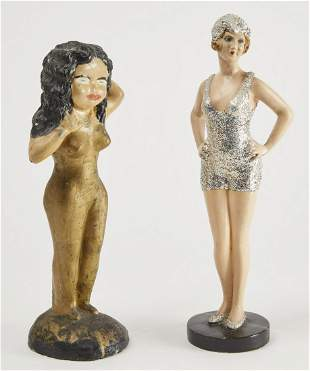 Plaster Bather and Cement Figure with Gold Pants