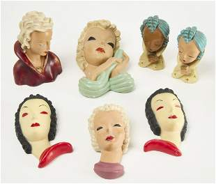 Lot of Pottery and Plaster Art Deco Female Plaques
