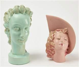 Large Art Deco Pottery Head & Deco Planter