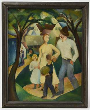 Modernist Painting of a Family