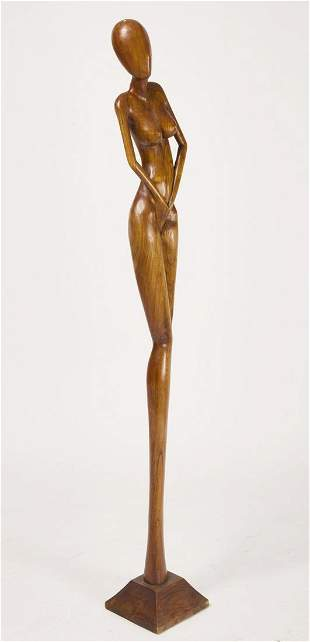 Large Modernist Carving of Woman