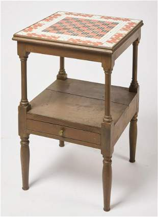 Game Table with Red & White Tile Top with Hearts