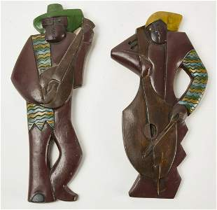 Pair of Cubist Painted Plaster Wall Plaques