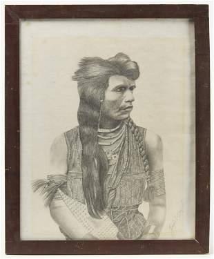 Folk Art Cowboy Painting & Native Drawing
