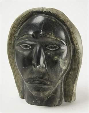 Large Eskimo Stone Carved Head