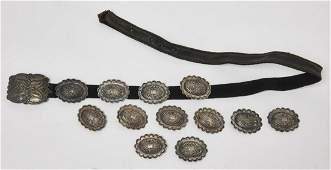 Silver Navajo Ladies Concho Belt & Native Jewelry