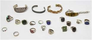 Lot of Silver 17 Rings & 4 Bracelets