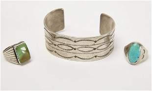 Early Navajo Stamped Bracelet & 2 Man