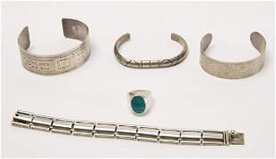 4 Silver Native American Bracelets & Navajo Ring