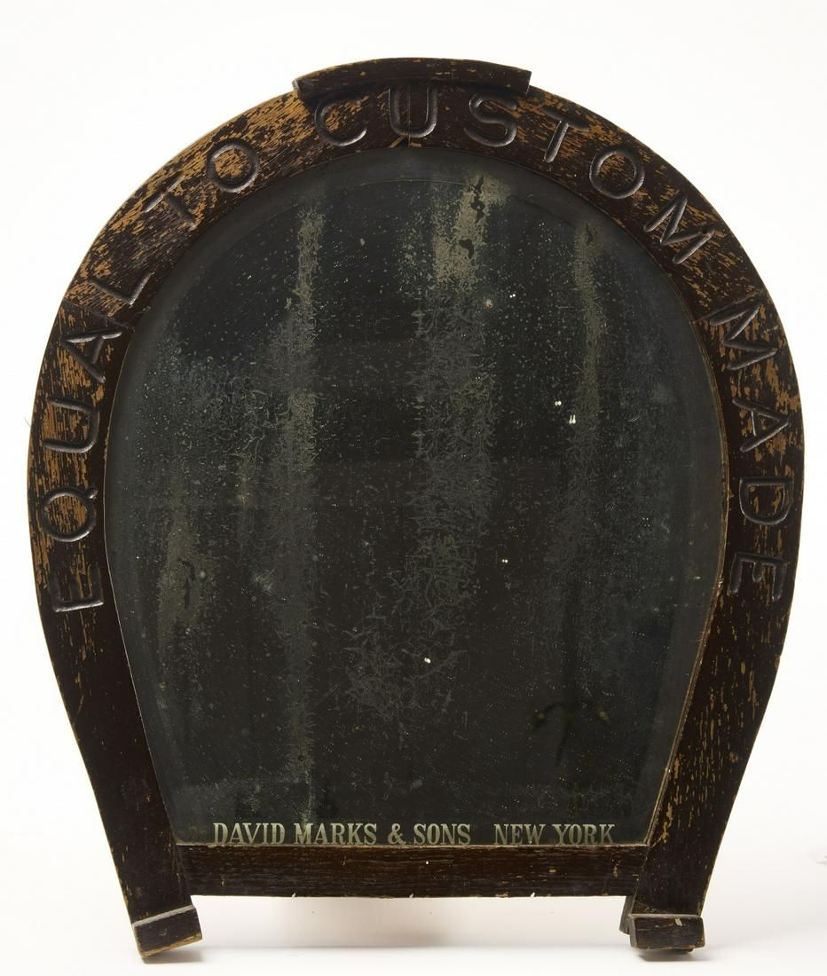 Carved Horse Shoe Advertising Mirror