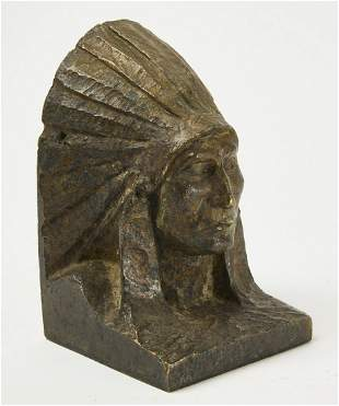 Heavy Bronze Indian Chief Doorstop