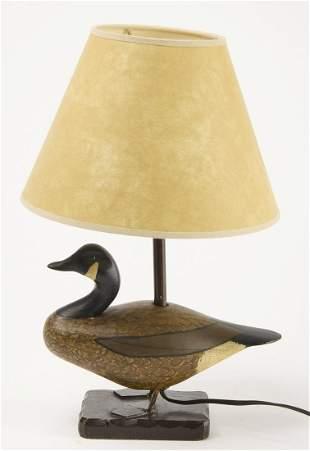 Vintage Carved Miniature Goose Decoy Lamp
