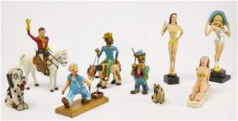 Group of Carved and Painted Folk Art Figures