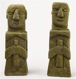 Pair of Folk Art Stone Carved Figures