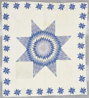 Antique Blue and White Star Quilt