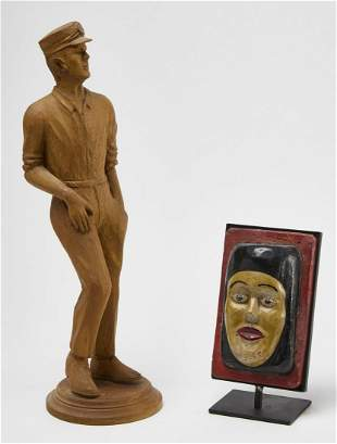 Carved Figure of a Man and a Folk Art Head